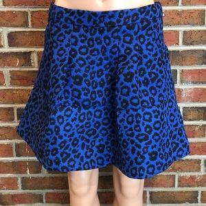 NWT Forever21 Royal Blue/Black Cheetah Print Skirt
